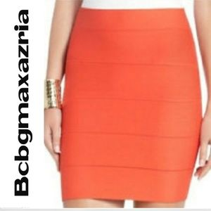 Bcbgmaxazria Orange Bandage Mini Skirt - Sz. Small